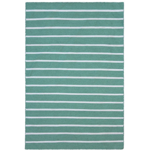Baris Green and White Striped Flat Weave Rug - Rugs Of Beauty