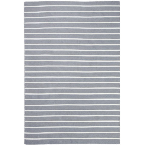 Baris Grey and White Striped Flat Weave Rug - Rugs Of Beauty