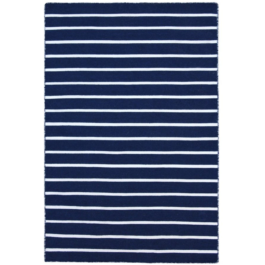 Baris Navy Blue And White Striped Flat Weave Rug Rugs Of Beauty