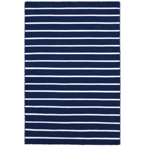 Baris Navy Blue and White Striped Flat Weave Rug - Rugs Of Beauty