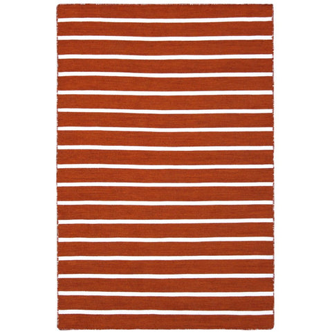 Baris Orange and White Striped Flat Weave Rug - Rugs Of Beauty