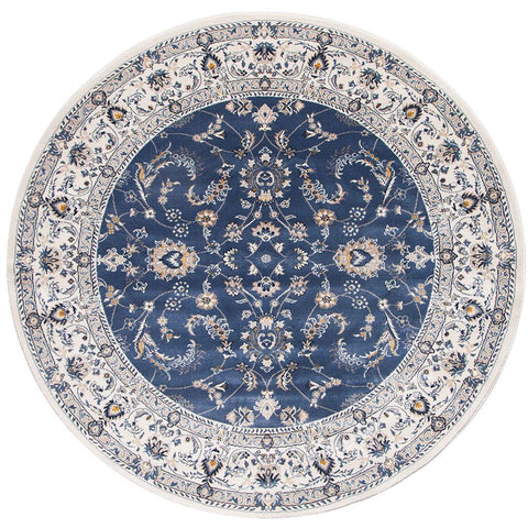 Alaman 2230 Blue White Traditional Pattern Round Rug - Rugs Of Beauty - 1