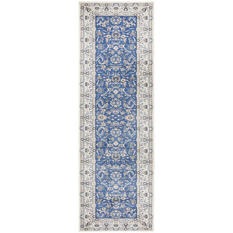 Alaman 2230 Blue White Traditional Pattern Runner Rug - Rugs Of Beauty - 1