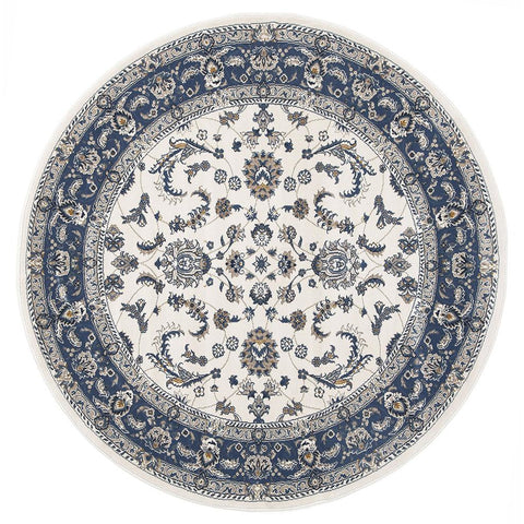 Alaman 2230 White Blue Traditional Pattern Round Rug - Rugs Of Beauty - 1