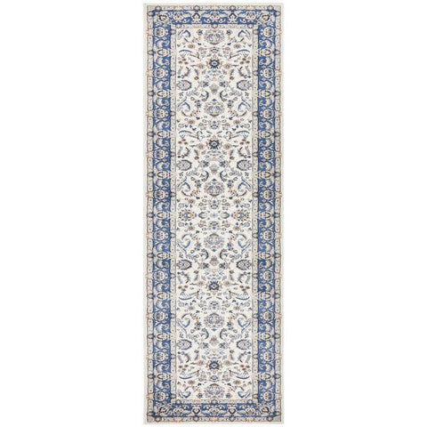 Alaman 2230 White Blue Traditional Pattern Runner Rug - Rugs Of Beauty  - 1