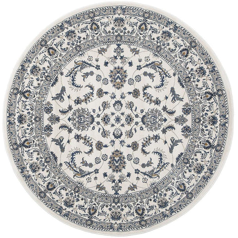 Alaman 2230 White Traditional Pattern Round Rug - Rugs Of Beauty - 1