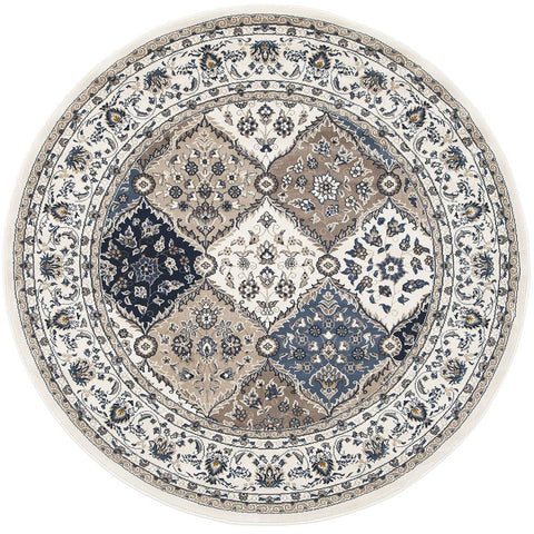 Alaman 2231 White Blue Beige Traditional Pattern Round Rug - Rugs Of Beauty - 1