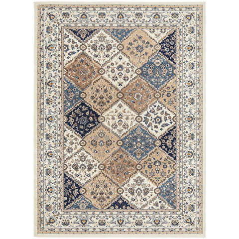 Alaman 2231 White Blue Beige Traditional Pattern Rug - Rugs Of Beauty - 1