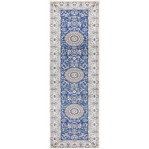 Alaman 2232 Blue White Medallion Traditional Pattern Runner Rug - Rugs Of Beauty - 1
