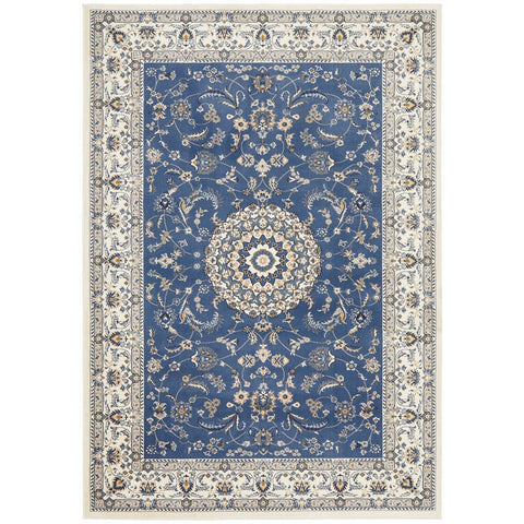 Alaman 2232 Blue White Medallion Traditional Pattern Rug - Rugs Of Beauty - 1
