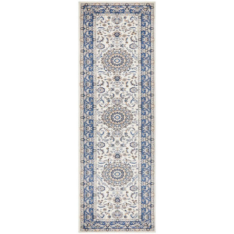 Alaman 2232 White Blue Medallion Traditional Pattern Runner Rug - Rugs Of Beauty - 1