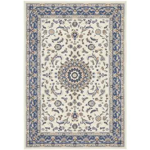 Alaman 2232 White Blue Medallion Traditional Pattern Rug - Rugs Of Beauty - 1