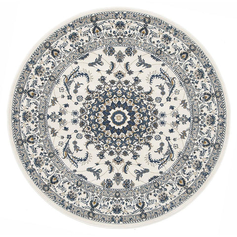 Alaman 2232 White Medallion Traditional Pattern Round Rug - Rugs Of Beauty - 1