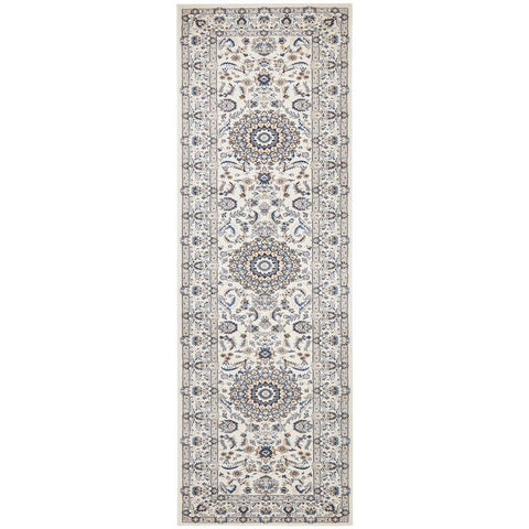 Alaman 2232 White Medallion Traditional Pattern Runner Rug - Rugs Of Beauty - 1