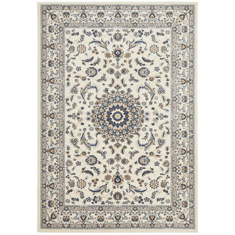 Alaman 2232 White Medallion Traditional Pattern Rug - Rugs Of Beauty - 1
