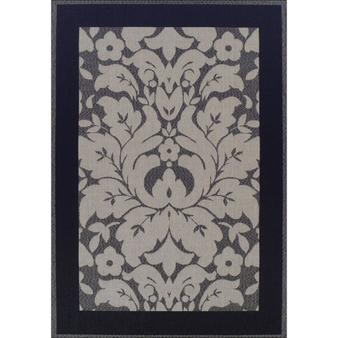 Indoor Outdoor Border Rug Grey Black - Rugs Of Beauty