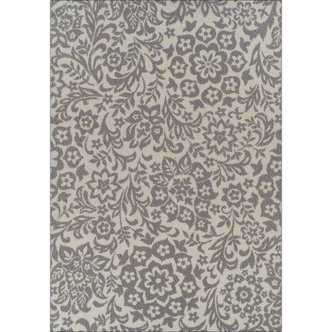 Indoor Outdoor Damask Rug Cream Grey - Rugs Of Beauty