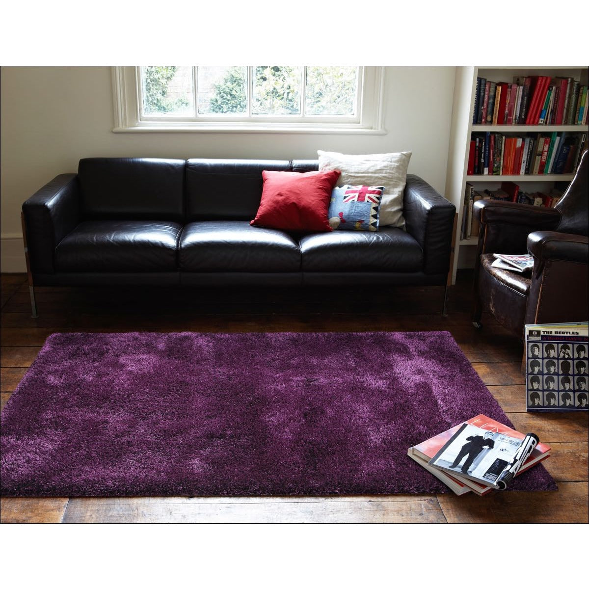 palos eggplant purple modern plush microfibre polyester shaggy rug rugs of beauty
