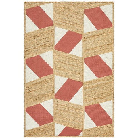 Haba 725 Coral Natural Modern Jute Cotton Rug - Rugs Of Beauty - 1