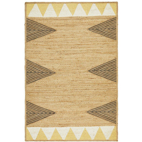 Haba 735 Yellow Natural Modern Jute Rug - Rugs Of Beauty - 1