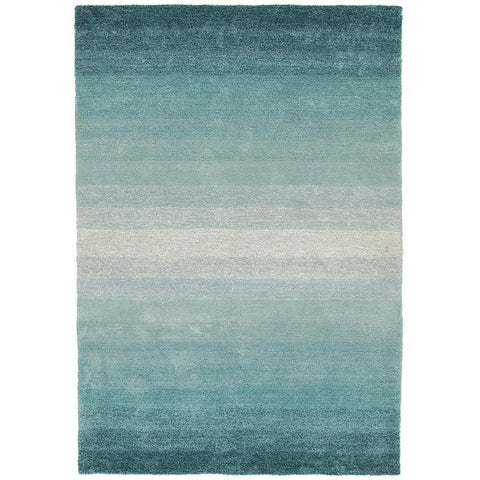 Thule 220 Blue Beige Patterned Shaggy Rug - Rugs Of Beauty - 1