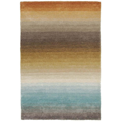 Thule 221 Multi Colour Patterned Shaggy Rug - Rugs Of Beauty - 1