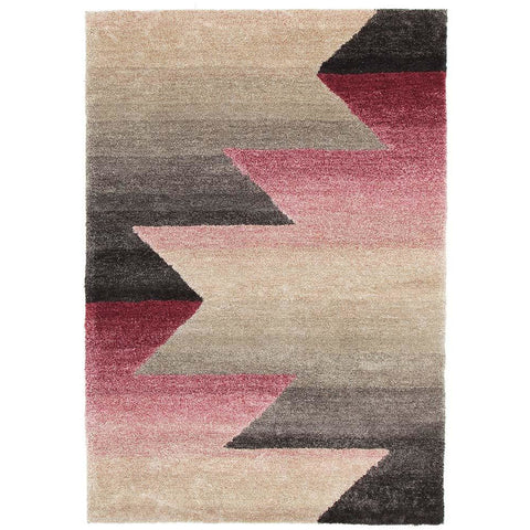 Thule 223 Pink Grey Beige Abstract Patterned Shaggy Rug - Rugs Of Beauty - 1
