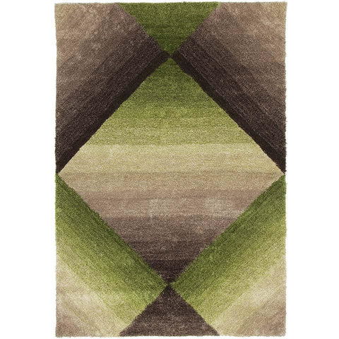 Thule 224 Green Grey Brown Beige Abstract Patterned Shaggy Rug - Rugs Of Beauty - 1