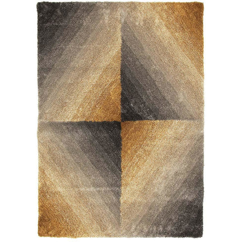 Thule 225 Grey Gold Beige Abstract Patterned Shaggy Rug - Rugs Of Beauty - 1