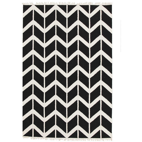 Wexford 721 Black Designer Cotton Rug - Rugs Of Beauty - 1