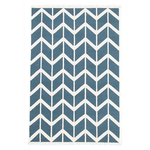 Wexford 721 Blue Cotton Designer Rug - Rugs Of Beauty - 1
