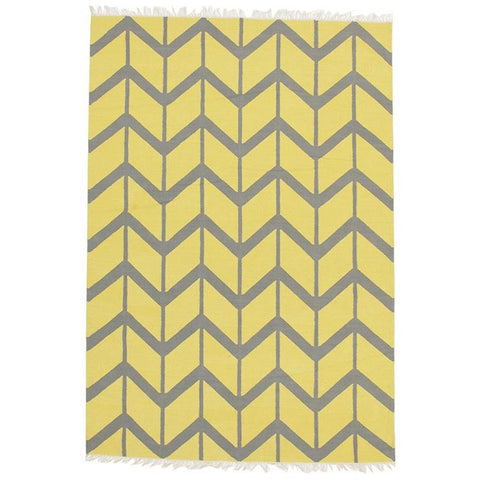 Wexford 721 Yellow Cotton Designer Rug - Rugs Of Beauty - 1
