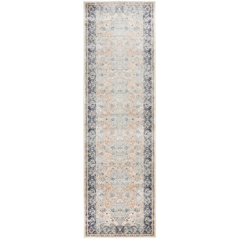 Cebu 755 Beige Blue Border Faded Traditional Patterned Runner Rug - Rugs Of Beauty - 1