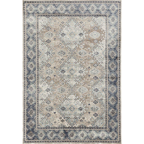 Cebu 755 Beige Blue Border Faded Traditional Patterned Rug - Rugs Of Beauty - 1