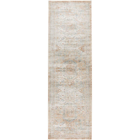 Cebu 758 Green Beige Faded Decorative Border Traditional Patterned Runner Rug - Rugs Of Beauty - 1