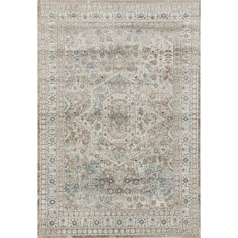 Cebu 758 Green Beige Faded Decorative Border Traditional Patterned Rug - Rugs Of Beauty - 1