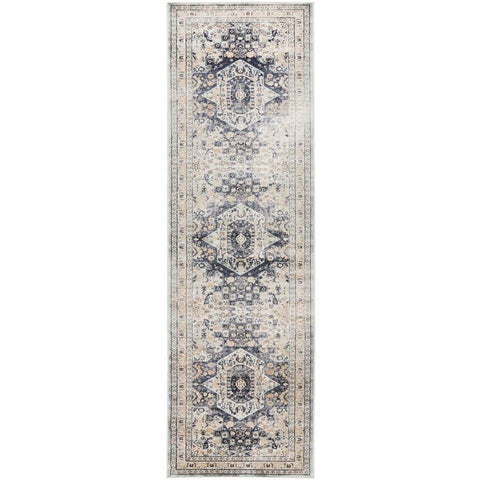 Cebu 758 Blue Beige Border Faded Traditional Patterned Runner Rug - Rugs Of Beauty - 1