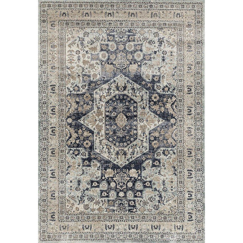 Cebu 758 Blue Beige Border Faded Traditional Patterned Rug - Rugs Of Beauty - 1