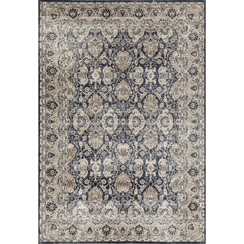 Cebu 759 Blue Beige Border Faded Traditional Patterned Rug - Rugs Of Beauty - 1