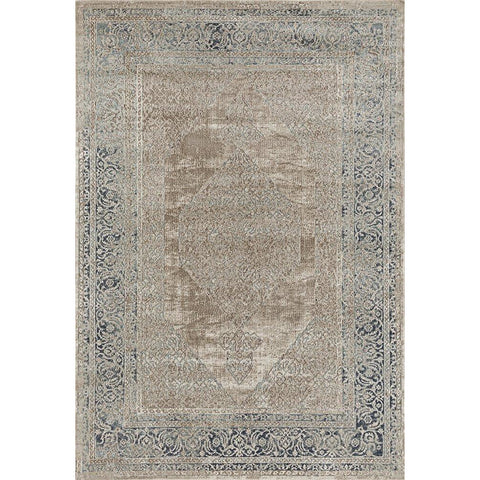 Cebu 761 Cream Blue Border Faded Traditional Patterned Rug - Rugs Of Beauty - 1