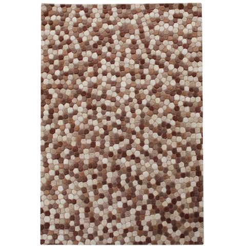 Olam Geometric Taupe, Beige and Brown Pixel Patterned Wool Rug - Rugs Of Beauty