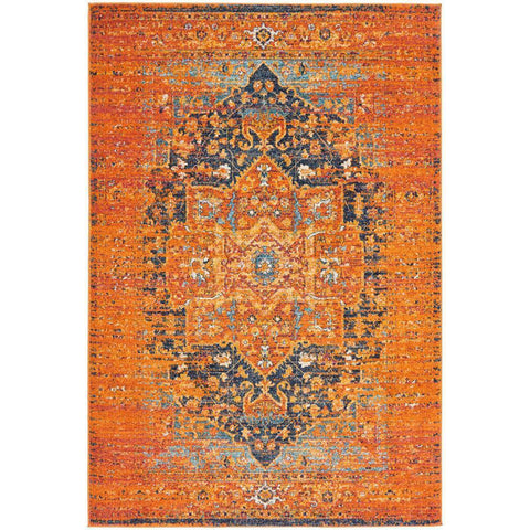 Kahn 881 Rust Multi Colour Transitional Medallion Patterned Rug - Rugs Of Beauty - 1