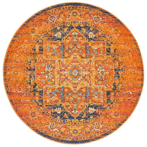 Kahn 881 Rust Multi Colour Transitional Medallion Patterned Round Rug - Rugs Of Beauty - 1