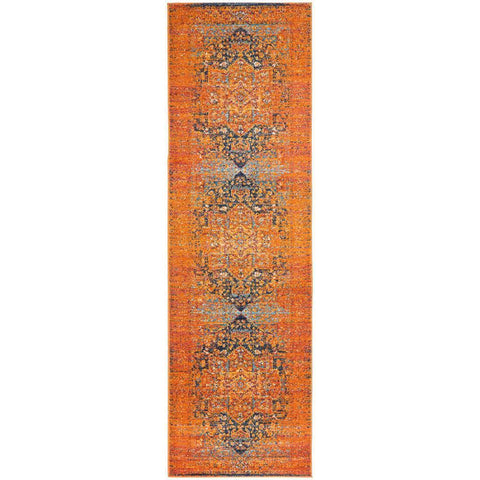 Kahn 881 Rust Multi Colour Transitional Medallion Patterned Runner Rug - Rugs Of Beauty - 1