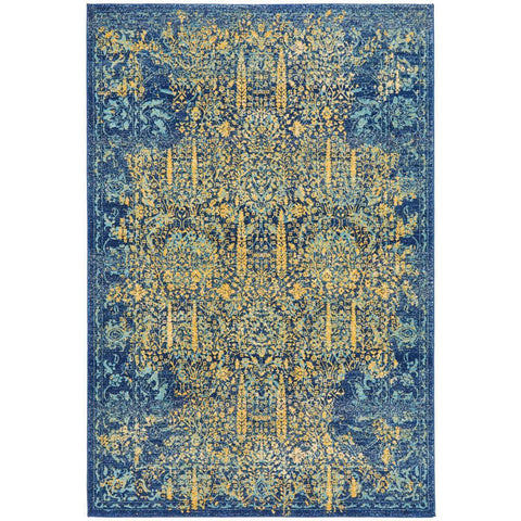 Kahn 882 Blue Multi Colour Transitional Medallion Patterned Rug - Rugs Of Beauty - 1