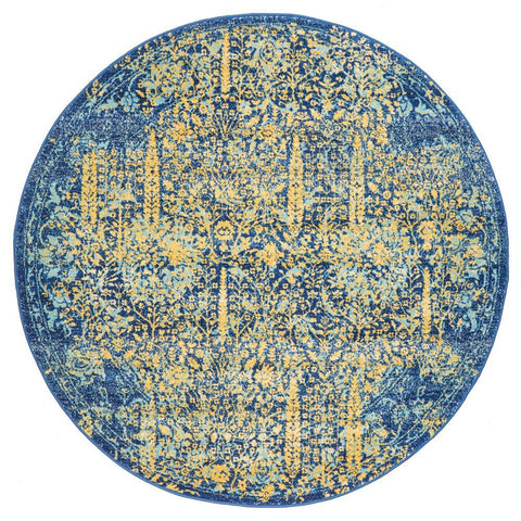 Kahn 882 Blue Multi Colour Transitional Medallion Patterned Round Rug - Rugs Of Beauty - 1