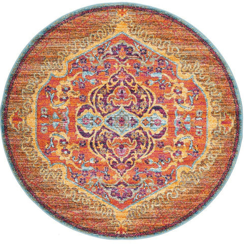Kahn 880 Orange Multi Colour Transitional Medallion Patterned Round Rug - Rugs Of Beauty - 1