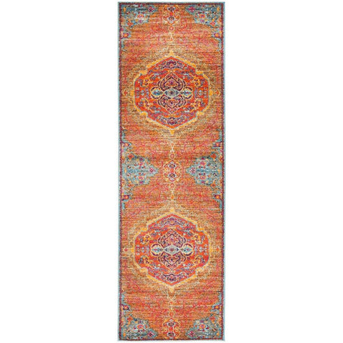 Kahn 880 Orange Multi Colour Transitional Medallion Patterned Runner Rug - Rugs Of Beauty - 1