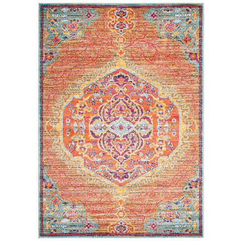 Kahn 880 Orange Multi Colour Transitional Medallion Patterned Rug - Rugs Of Beauty - 1