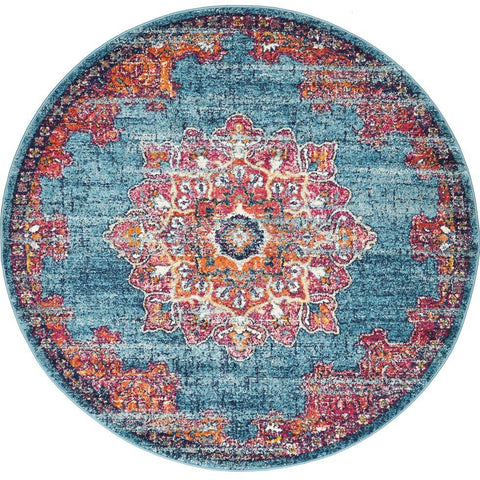 Kahn 883 Blue Multi Colour Transitional Medallion Patterned Round Rug - Rugs Of Beauty - 1